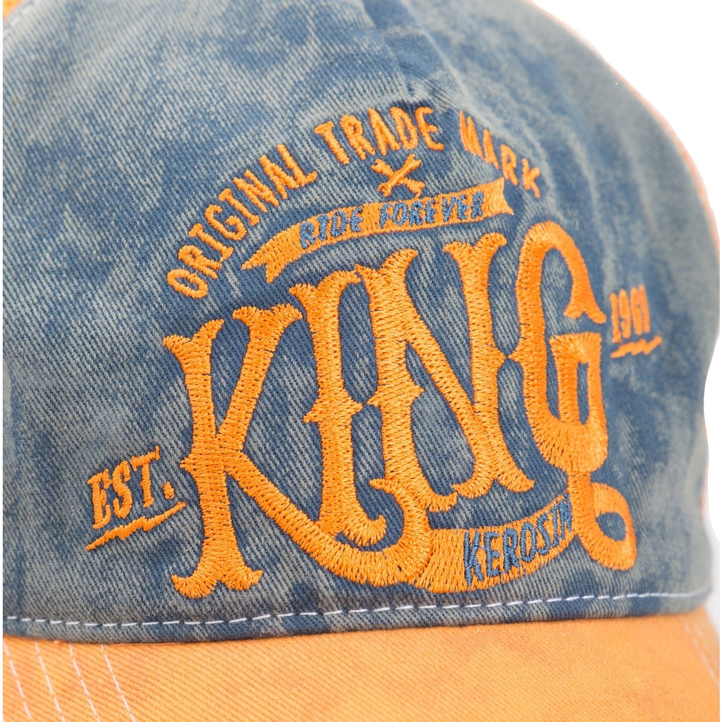 KingKerosin Trucker Cap »KING«, mit Denim Einsatz im Used Look