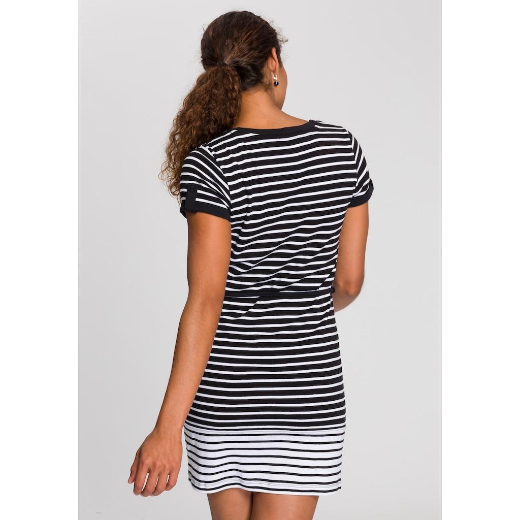 KangaROOS Sommerkleid, im maritimen Streifen-Design mit Gürtel
