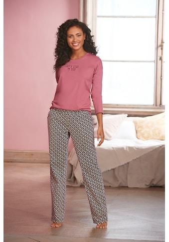 Vivance Dreams Pyjama, mit Schriftprint und gemusterter Hose kaufen