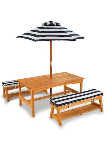 KidKraft® Kindersitzgruppe »Gartentischset hellbraun«, mit Sitzauflagen und... kaufen