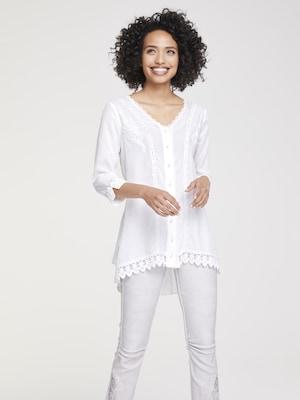 Weiße Spitzenbluse