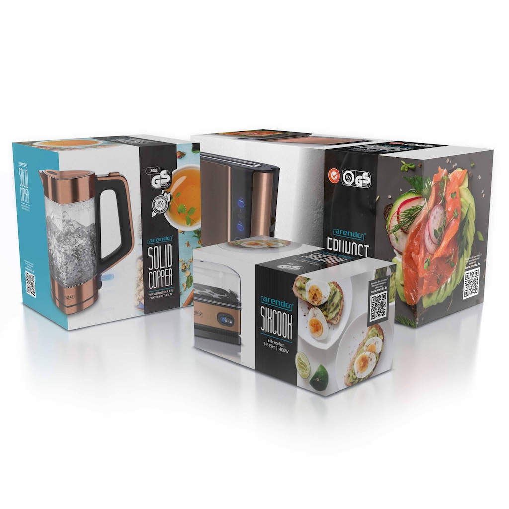 Arendo Frühstücks-Set »Wasserkocher / Toaster / Eierkocher«, 3-teilig in Kupfer Optik