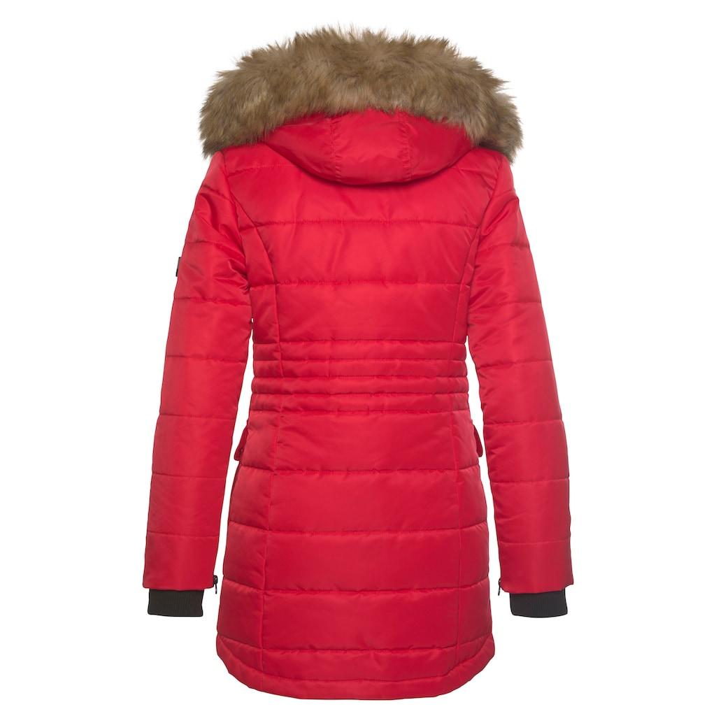 ALPENBLITZ Steppjacke »Schneeglanz«, edle Winterjacke mit Rippenstehkragen und abnehmbaren Kunstfell an der Kapuze