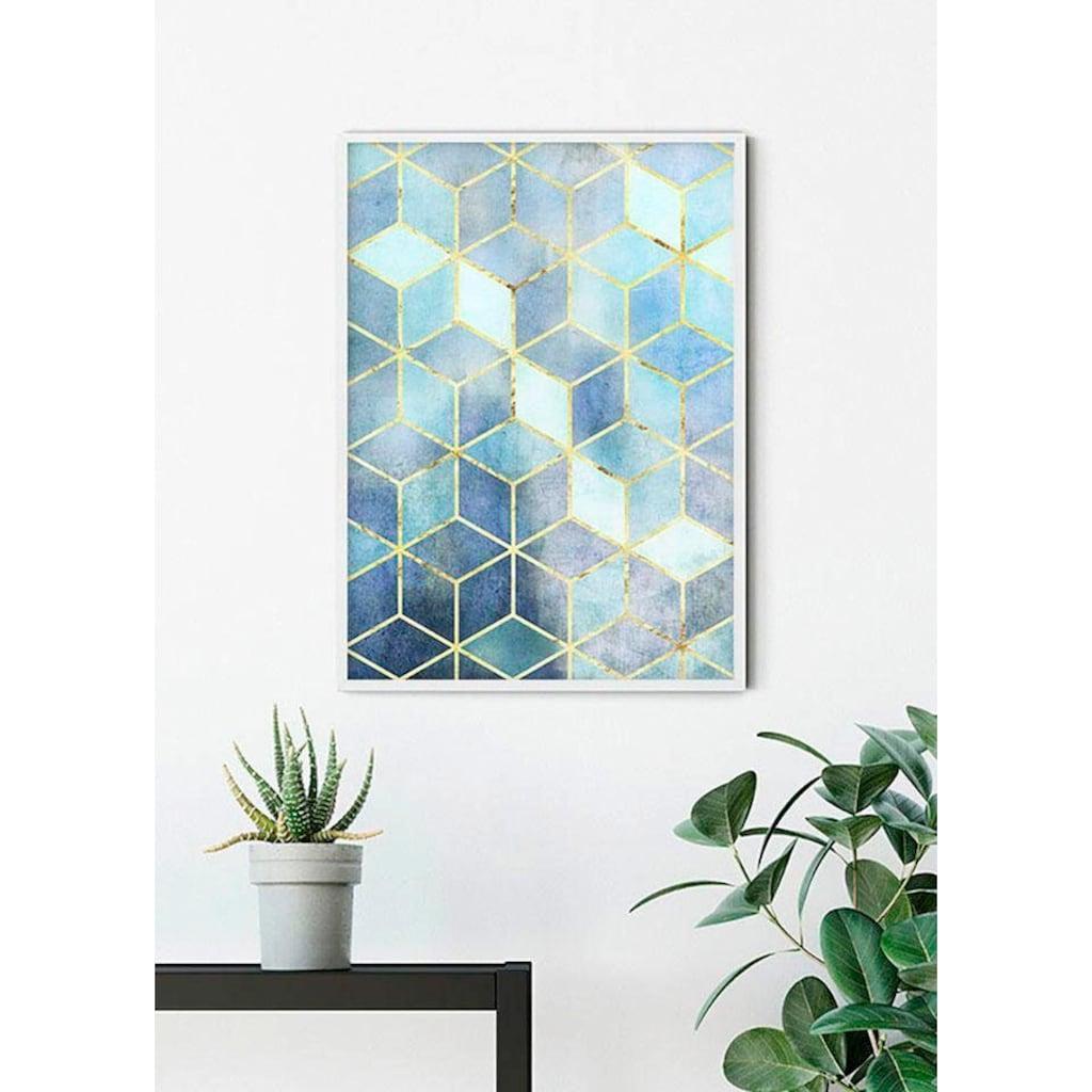Komar Poster »Mosaik Azzuro«, Abstrakt, Höhe: 40cm