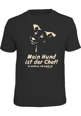 Rahmenlos T-Shirt für Hundeliebhaber: Mein Hund ist der Chef kaufen