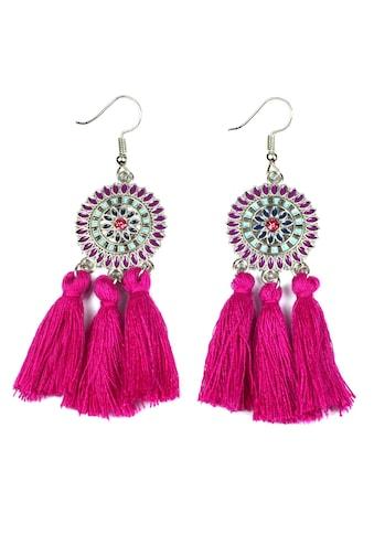 J.Jayz Paar Ohrhaken »runde Ornamente mit Quasten«, mit Glassteinen kaufen