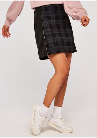 Apricot Karorock »Plaid Ponti PU Panelled Skirt«, mit Lederoptikeinsätzen kaufen