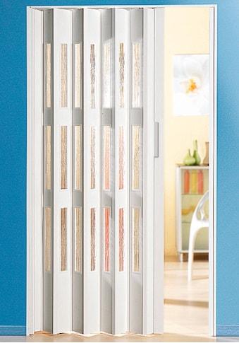 Falttür, Höhe nach Maß, weiß mit Fenstern in Riffelstruktur kaufen