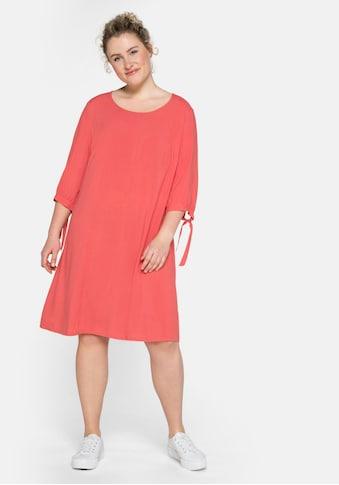 Sheego Jerseykleid, mit gerafften 3/4-Ärmeln und Bindeband kaufen