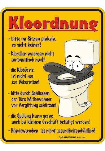 """Rahmenlos Blechschild mit lustigem Motiv »""""Kloordnung""""« kaufen"""