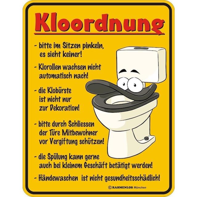 """Rahmenlos Blechschild mit lustigem Motiv »""""Kloordnung""""«"""