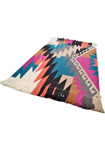 TOM TAILOR Teppich »Funky Kelim«, rechteckig, 6 mm Höhe, Bohostyle, handgewebt, mit... kaufen
