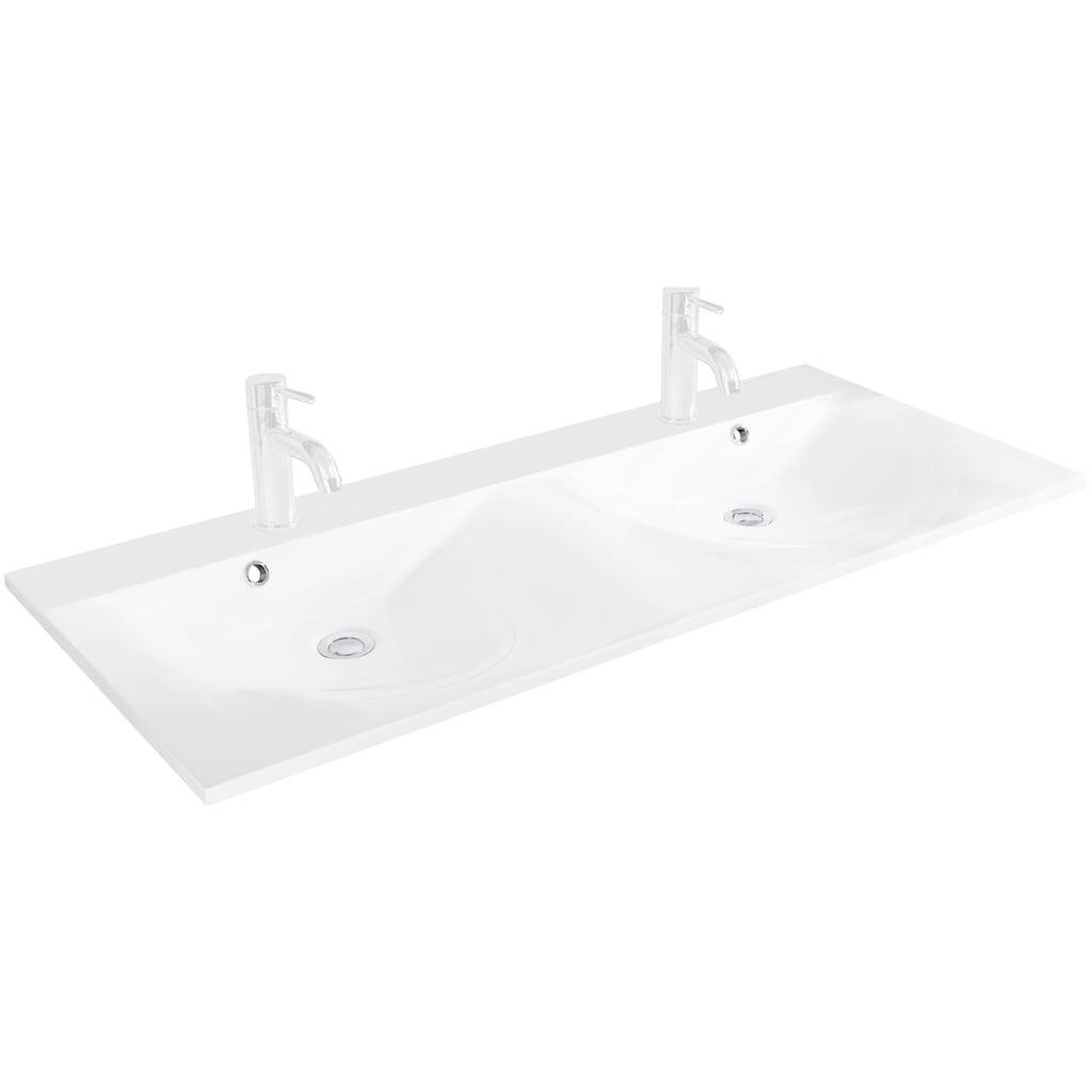 FACKELMANN Waschbecken »Como«, Gussmarmor, Doppelwaschbecken mit Überlauf, Breite 120 cm