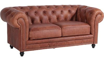 Max Winzer® Chesterfield-Sofa »Old England«, 2-Sitzer Ledersofa mit Knopfheftung &... kaufen