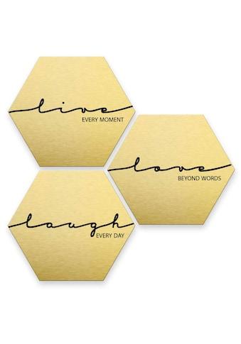 Wall-Art Mehrteilige Bilder »Gold Effekt Live Laugh Love«, (Set, 3 St.) kaufen