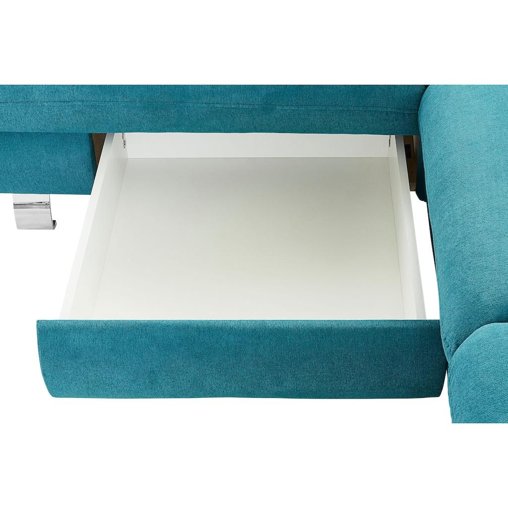 TRENDMANUFAKTUR Ecksofa, wahlweise mit Bettfunktion und Bettkasten, inklusive variabler Kopfstütze, frei im Raum stellbar