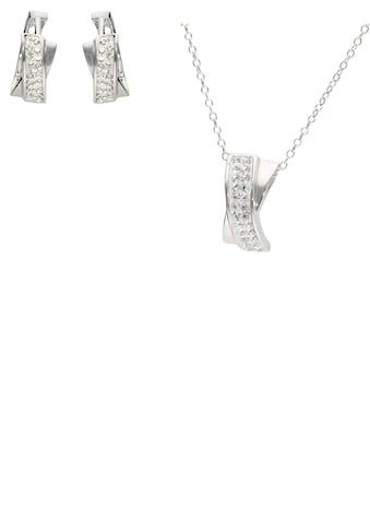 Firetti Ohrring und Ketten Set »Creolen und Halskette, rhodiniert, Glanz, massiv« (Set, 4 tlg.) kaufen