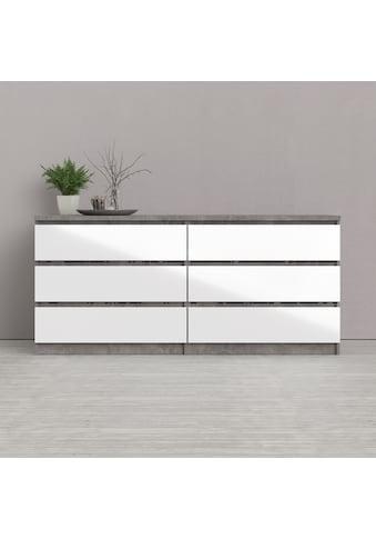 Home affaire Hochkommode »Naia«, mit einer Hochglanz-Optik, mit abgerundeten Schubladenkanten, Schubladen auf Metallgleiter, made in Denmark kaufen
