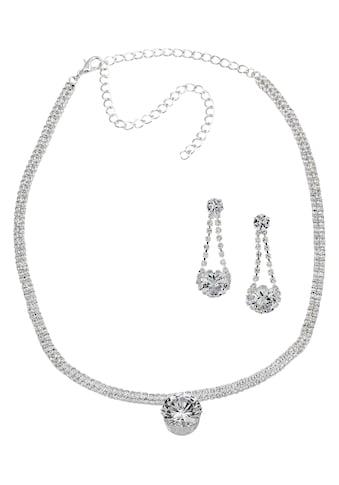 J.Jayz Ohrring und Ketten Set »Strass-Schmuckset, Glamour pur«, mit Glassteinen kaufen