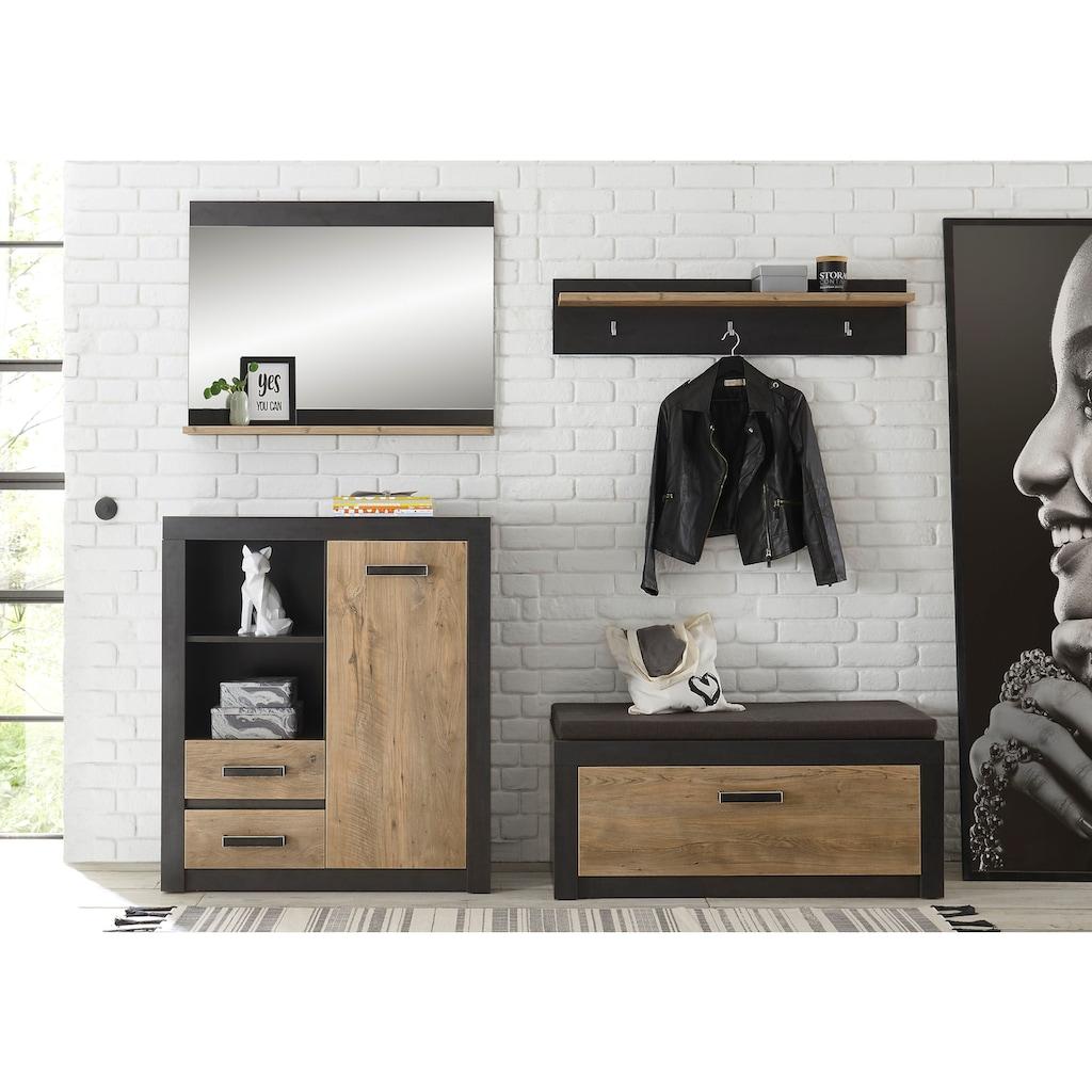 my home Garderoben-Set »BRÜGGE«, (Komplett-Set, bestehend aus Garderobenbank und -paneel, Kommde, Spiegel), mit einer dekorativen Rahmenoptik