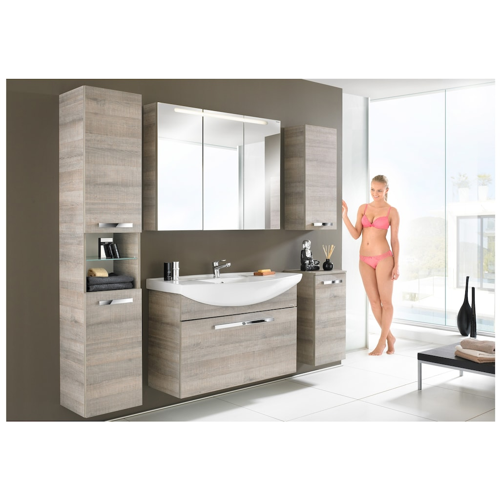 FACKELMANN Spiegelschrank »A-Vero«, Breite 105 cm, LED-Badspiegel, doppelseitig verspiegelt