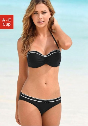 s.Oliver Bügel-Bandeau-Bikini, mit kontrastfarbenen Häkeldetails kaufen