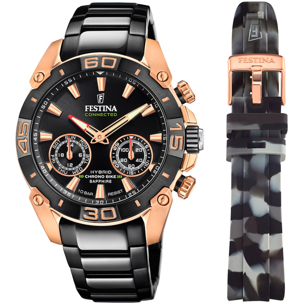 Festina Chronograph »Chrono Bike 2021 - Special Edition Connected, F20548/1«, (Set, 2 tlg., mit Wechselband)