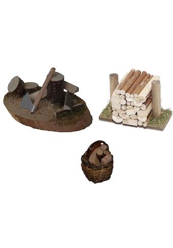 Alfred Kolbe Krippen-Zubehör »Hackstock, Holzstoß, Korb mit Holz« kaufen