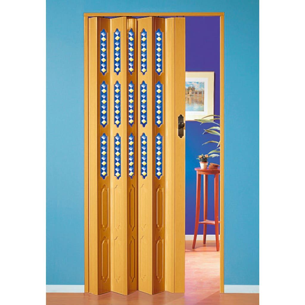 Falttür »Dekor 1 Halbrund«, BxH: 88,5x202 cm, mit dekorativem Motiv im Fenster