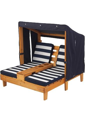 KidKraft® Kinderklappstuhl »Doppelte Sonnenliege mit Getränkehaltern, weiß-blau« kaufen