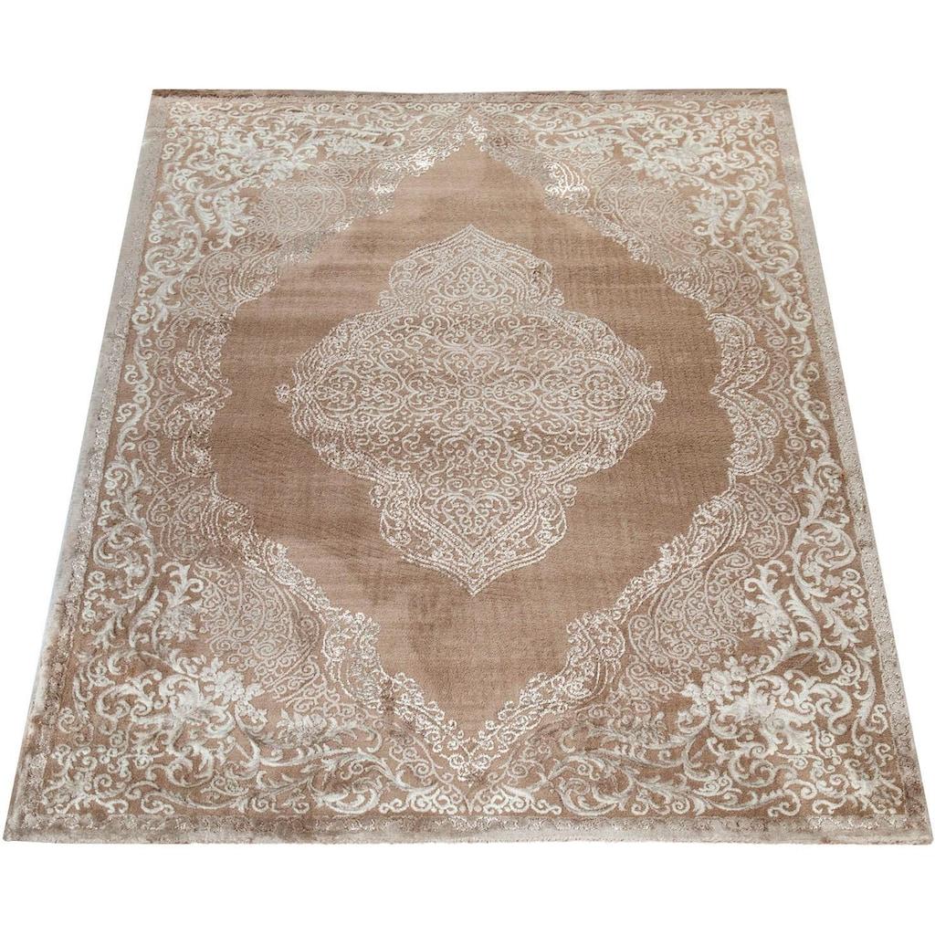 Paco Home Teppich »Elizabeth 052«, rechteckig, 16 mm Höhe, Hoch-Tief-Effekt, Orient-Optik, Vintage Design, Wohnzimmer