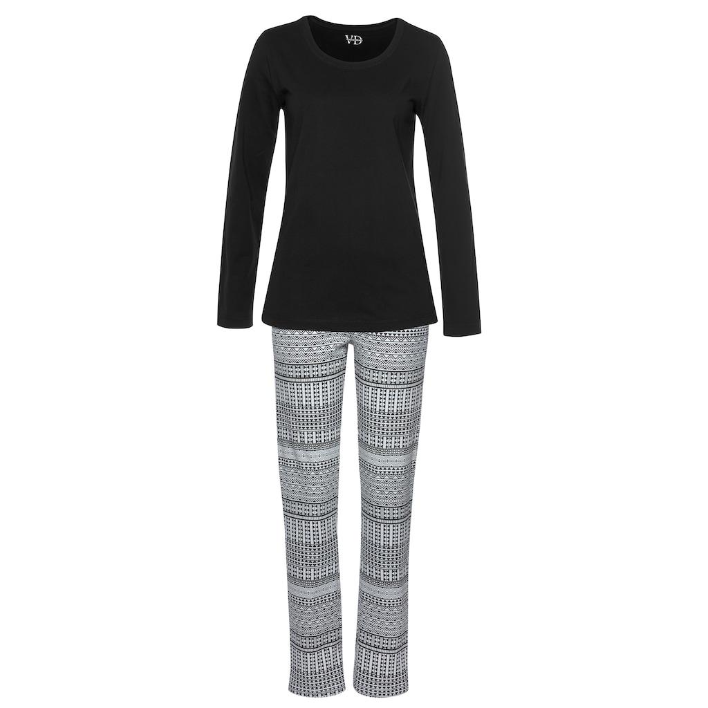 Vivance Dreams Pyjama, mit schwarz-weißem Ethno-Muster