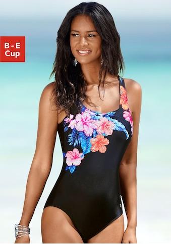 LASCANA Badeanzug, mit eleganter Raffung und Print kaufen