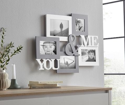 moderne Bilderrahmen-Collage in Grau-Weiß