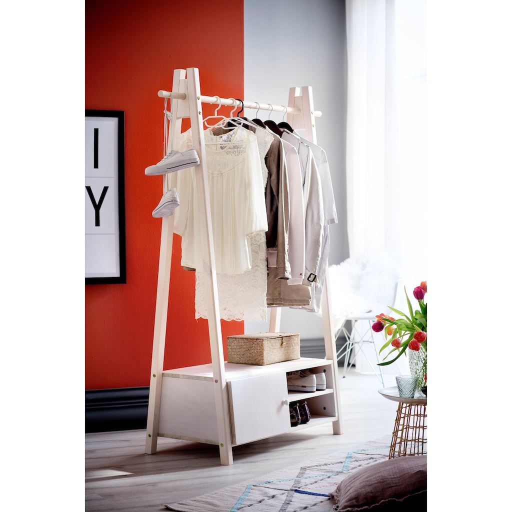 Home affaire Garderobenständer »Ward«, aus massivem weiß lackiertem Fichtenholz, Höhe 170 cm