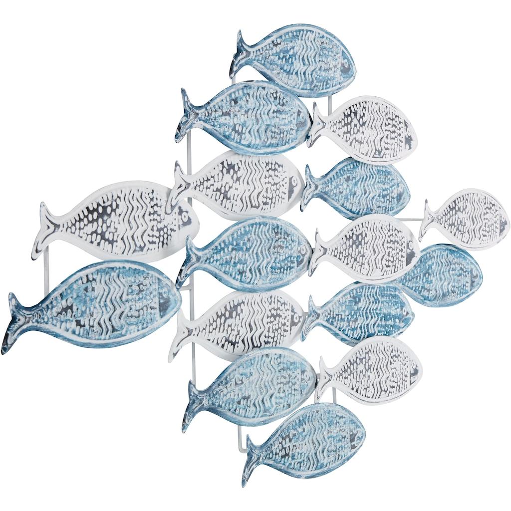 Home affaire Wanddekoobjekt »Fische«, Wanddeko aus Metall, Shabby Look