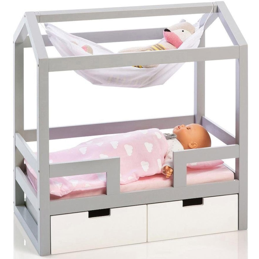 MUSTERKIND® Puppenbett »Barlia, grau/weiß«, mit 2 Schubladen
