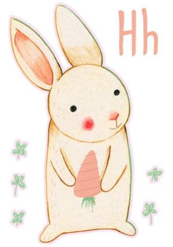 Wall-Art Wandtattoo »Bunte Tierwelt Hase Buchstabe H« kaufen