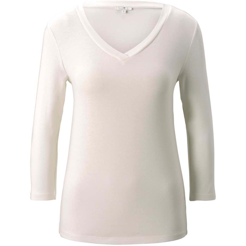 TOM TAILOR 3/4-Arm-Shirt, mit V-Ausschnitt