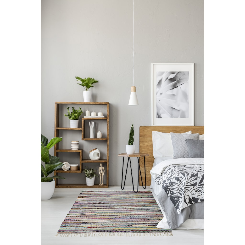 Andiamo Teppich »Multi«, rechteckig, 10 mm Höhe, Flachgewebe, Flickenteppich, reine Baumwolle, handgewebt, mit Fransen, Wohnzimmer
