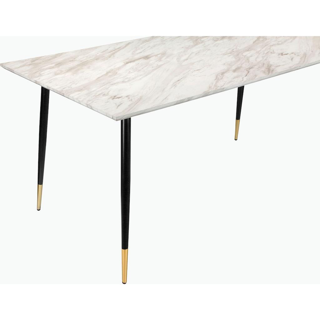 Leonique Esstisch »Eadwine«, Tischplatte aus pflegeleitem MDF, Gestell in Metall