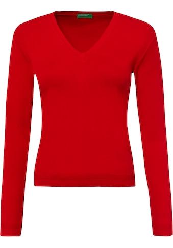 United Colors of Benetton V-Ausschnitt-Pullover, in zeitloser Optik mit vielseitigen Einsatzmöglichkeiten kaufen