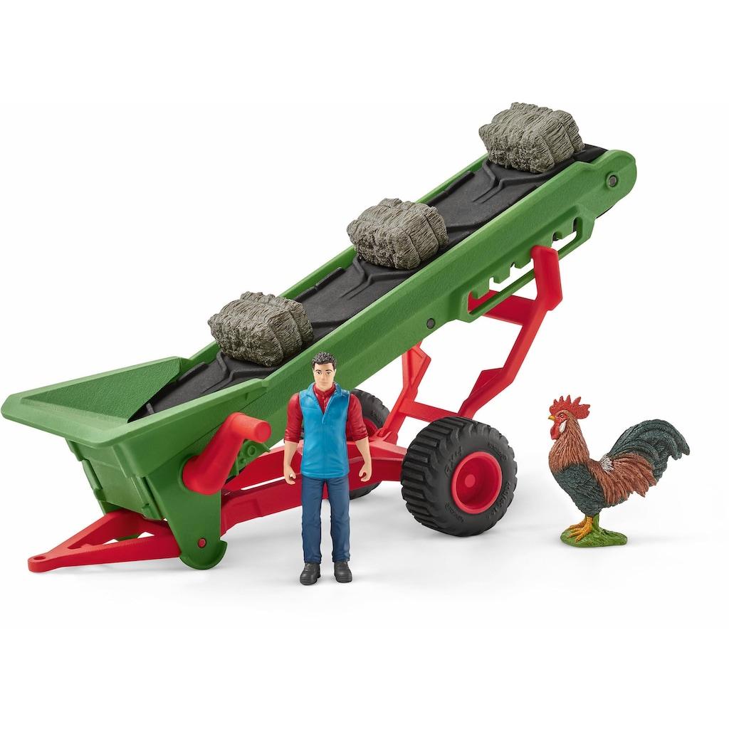 """Schleich® Spielfahrzeug-Anhänger """"Farm World, Heuförderband mit Bauer (42377)"""""""