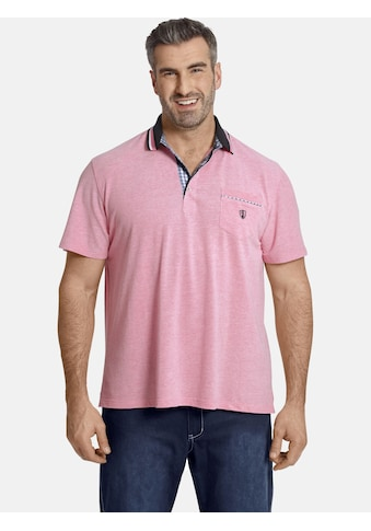 Charles Colby Poloshirt »EARL ZEON«, Pink mit Karomuster kaufen