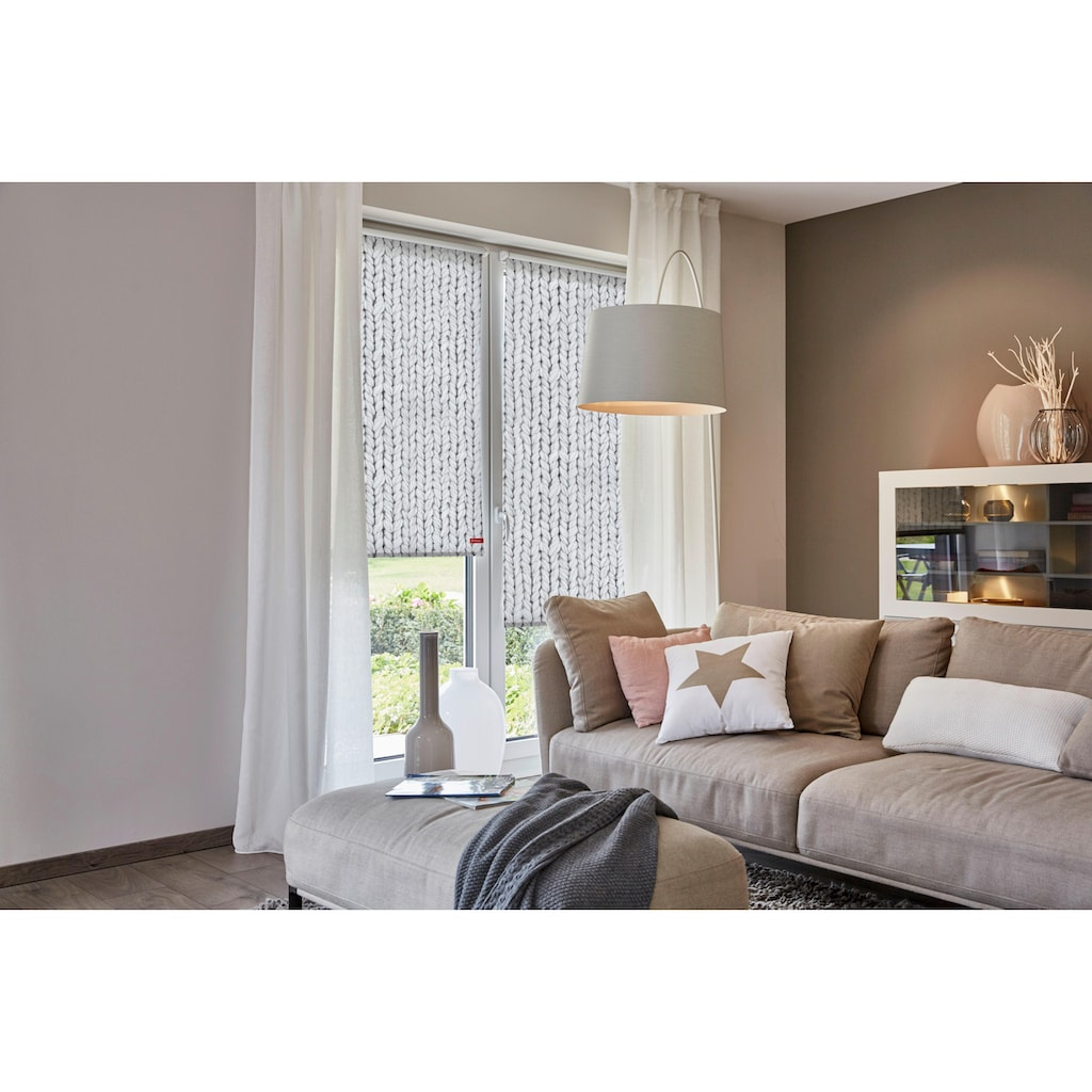 LICHTBLICK Seitenzugrollo »Klemmfix Motiv Strickmuster«, Lichtschutz, ohne Bohren, freihängend, bedruckt