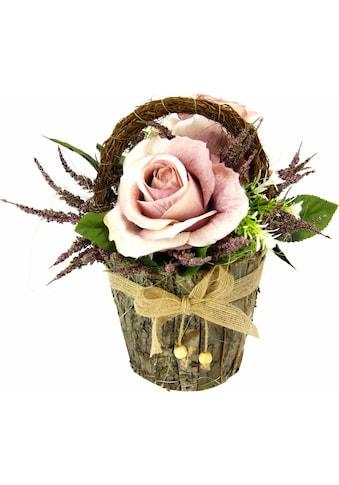 Kunstpflanze »Gesteck Rosen in Rindentopf« (1 Stück) kaufen