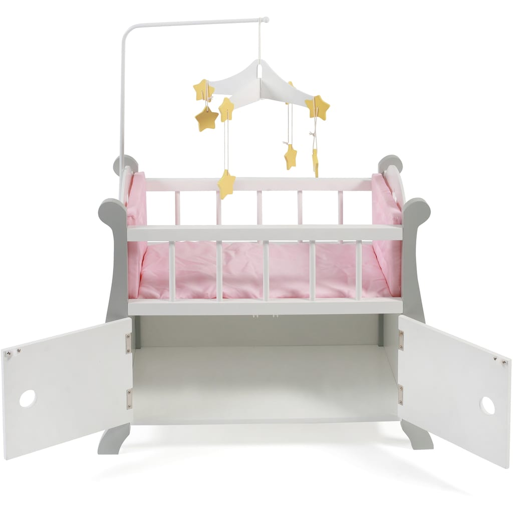 CHIC2000 Puppenbett »Stars Grau«, aus Holz mit Mobile