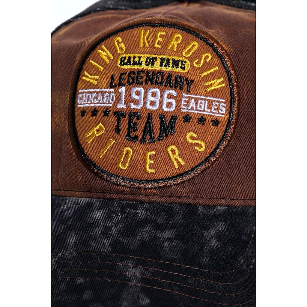 KingKerosin Trucker Cap »Legendary Team«, mit Enzymwash und Stickerei