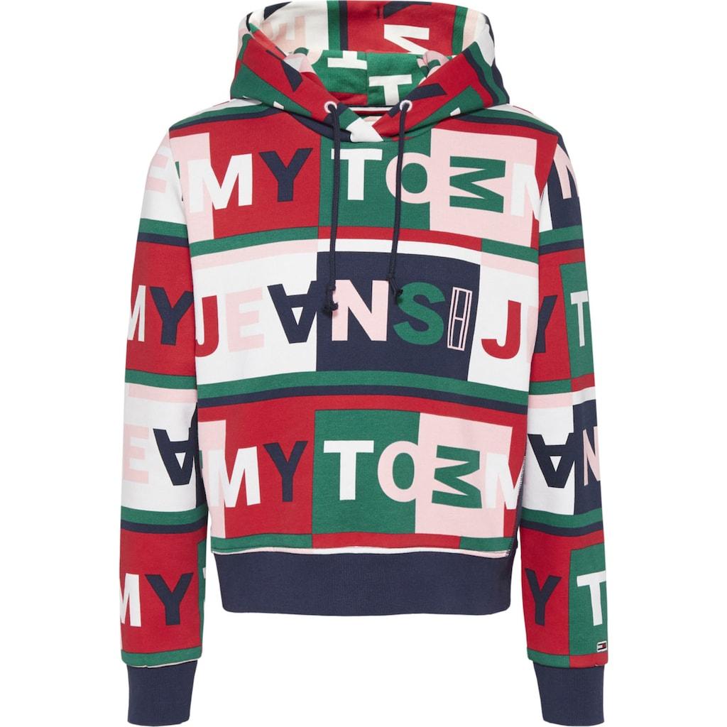 Tommy Jeans Kapuzensweatshirt »TJW AOP HOODIE«, mit Tommy Jeans Schriftzügen allover im modischem Colorblocking