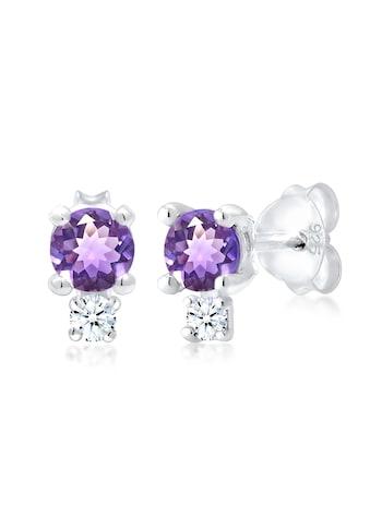 Diamore Paar Ohrstecker »Amethyst Edelstein Diamant (0.06 ct.) 925er Silber« kaufen